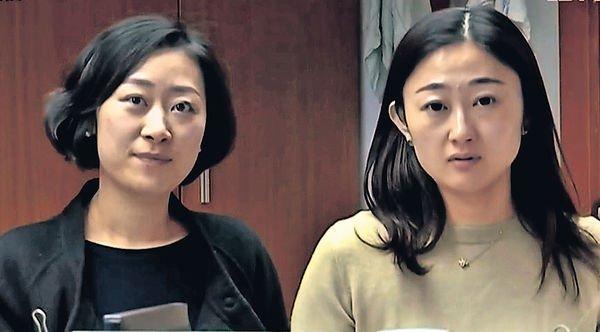 顏女士(右)购买的iPhone X,能轻易被同事刷脸解锁。