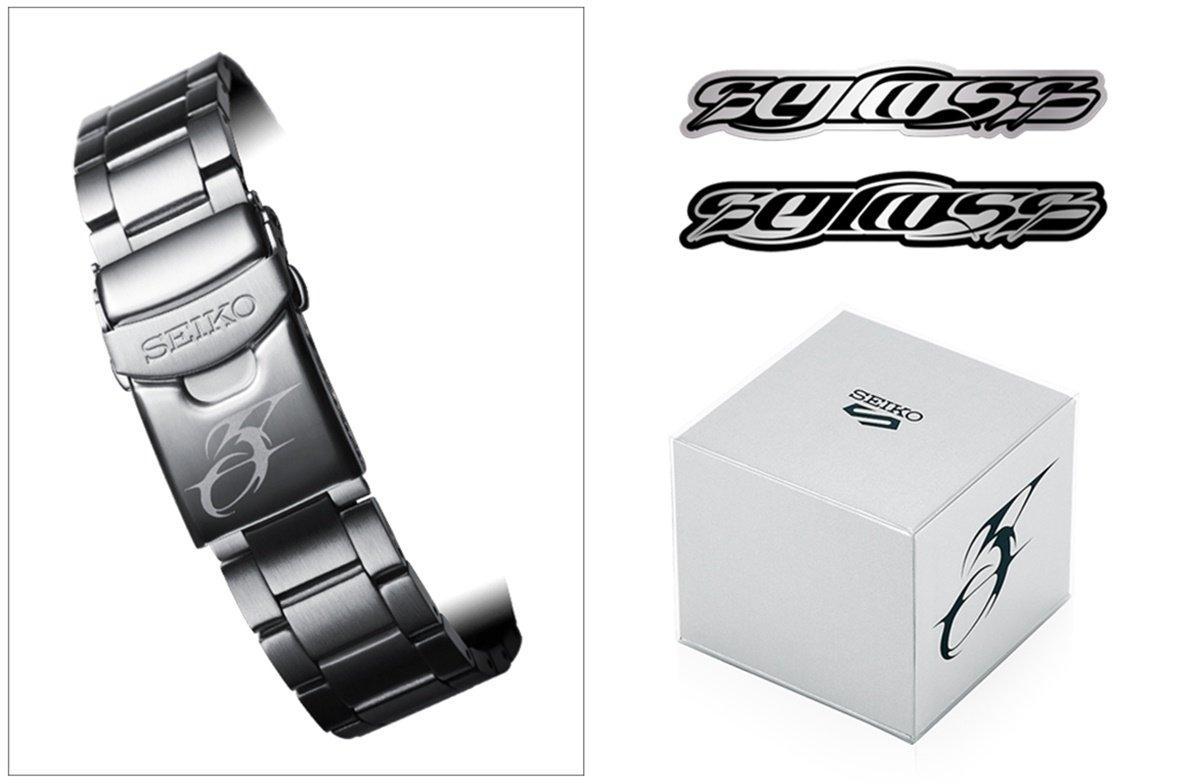 """表扣与镂空底盖上分别印有GUCCIMAZE专为此系列设计的数字""""5""""与""""SEIKO 5"""",充分展现其锐利抽像的三维字体设计风格。"""