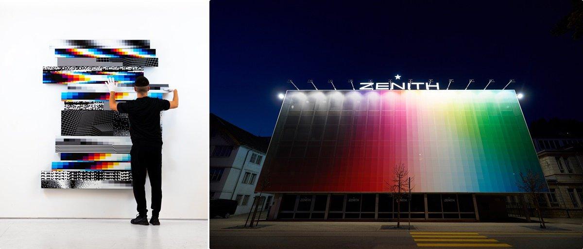 费利佩的作品多采用现代数码元素,以色彩渐变和像素重组的方式回应当下。右为费利佩在真力时表厂主建筑物的外墙套上防水帆布,以色谱和数位科技的概念进行创作。