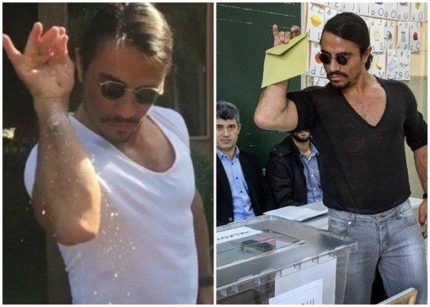 土國修憲公投 「型男」屠夫招牌手勢投票
