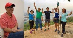 右圖:潘明坤和朋友在爬山歇息時留下了合影,希望他的意志力足以讓他一 次次跨越更高的那座山。