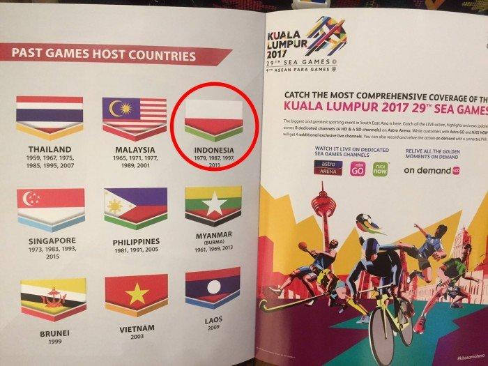 东运册子国旗顏色倒反 印尼部长:等大马道歉