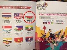 大馬身為2017年東運會東道主國,卻在東運會冊子上將印尼的國旗顏色(紅圈處)搞錯。