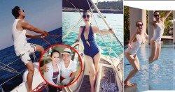 甄子丹(左圖)帶一家人搭遊艇出遊,老婆汪詩詩的深V泳衣相當吸睛。