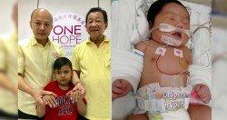 蔡瑞豪(左)與大山腳瑤池金母慈善基金會顧問洪明福,向媒體展示慕哈末哈菲發紫的手指。右圖為3週大女嬰艾莎索菲。