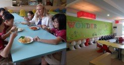 左圖:校長妮琪康(右2)和孩子的相處方式跨越階級,年紀上的差距並未帶來任何溝通障礙;右圖:低年級的用餐區設置了較矮小的椅子。