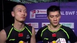張楠(左)和傅海峰賽後受訪。