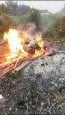 居民拍攝到農場焚燒「死豬」照,作為證據。