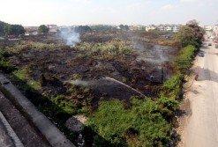 巴生港口一塊8英畝的草叢著火,燒成一片焦黑。