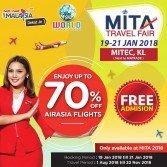 亚航在MITA旅游展将提供高达70%的优惠折扣,只限于在MITA旅游展期间预定。