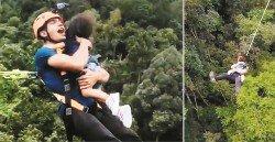 本地藝人帶著兩歲女兒挑戰高空彈跳,還聲稱女兒自願這么做,遭網民撻伐。