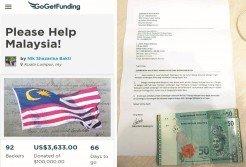 民眾通過各種方式捐錢救國,也希望能拋磚引玉,讓更多人貢獻財力,早日解決國債高築的問題。左為莎扎麗娜發起的網上眾籌運動,右為沙巴巴迪附上100令吉致給首相署的信函。