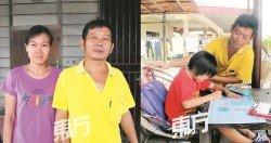 張柔清(左)在黃文財患癌后,擔起照顧 他疼愛有加。 丈夫和女兒的職務,但卻從不言苦。