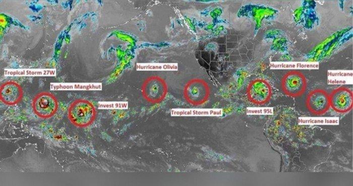 全球天氣極端 出現熱帶氣旋九星連珠