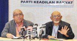 拉昔丁(右)在記者會上公佈公正黨各州投票日期,並表示 黨選準備工作進度已達90%。左為哈茲依斯邁。 (摄影:邱繼賢)
