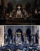 兩張合成照顯示巴黎聖母院內部在遭火劫前(上圖)和之後的對比。法國總統馬克龍誓言要在5年內重現聖母院的輝煌,但有專家指重建工作料耗時數十年。-法新社-