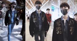 王俊凱戴口罩低調現身機場,不過粉絲早已夾道歡迎,想避也避不了啦。(圖取自微博)