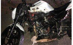 一名大馬客工於勞動節凌晨從新加坡返家途中不幸撞上一輛停泊在緊急車道的轎車,造成頭部重創而喪生,圖為死者所騎乘的摩哆車。