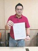 陳傳平週四召開新聞發布會要求建校委員會主席廖彩彤回應有關新廊華小被徵665萬令吉地稅,並展示有關土地局通知信函及form 5。