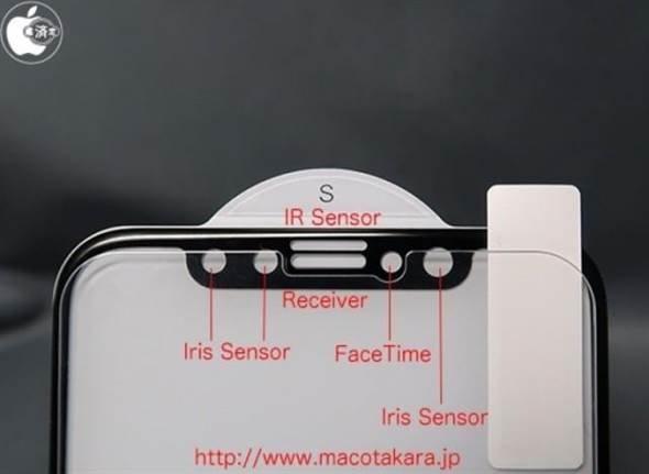 Mac Otakara曝光的iPhone 8正面萤幕上方感测器设置细部图。