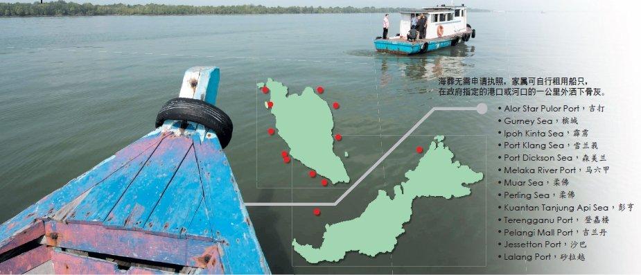 海葬无需申请执照,家属可自行租用船只,在政府指定的港口或河口的一公里外洒下骨灰。