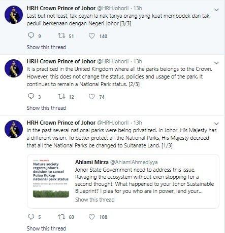 柔王储东姑依斯迈在推特透露,柔州国家公园的所有权将改归苏丹所有土地。