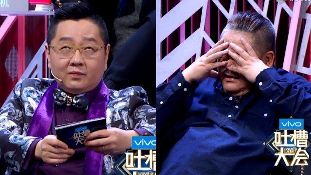 马景涛表演脱口秀时,主持人张绍刚(左)边翻字卡边翻白眼,来宾林雪(右)则是无奈摀脸。