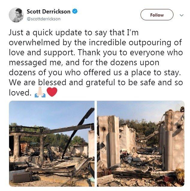 导演史考特德瑞森(Scott Derrickson)在推特报平安。
