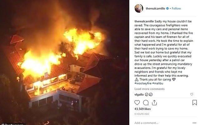 男星卡斯格拉马(Kelsey Grammer)前妻卡米尔(Camille Grammer)住家被烧毁。