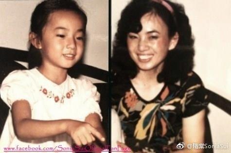 隋棠(左图)和母亲的对比照。