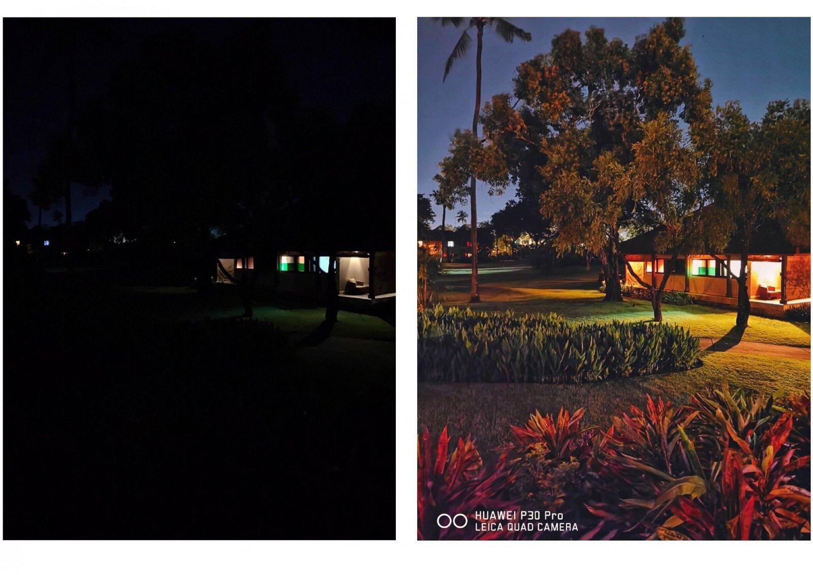 从左图可见,拍摄环境非常昏暗只能看到灯光,但华为P30Pro却将物体的细节都保留下来,甚至比肉眼看的更明亮。Photo by smashpop