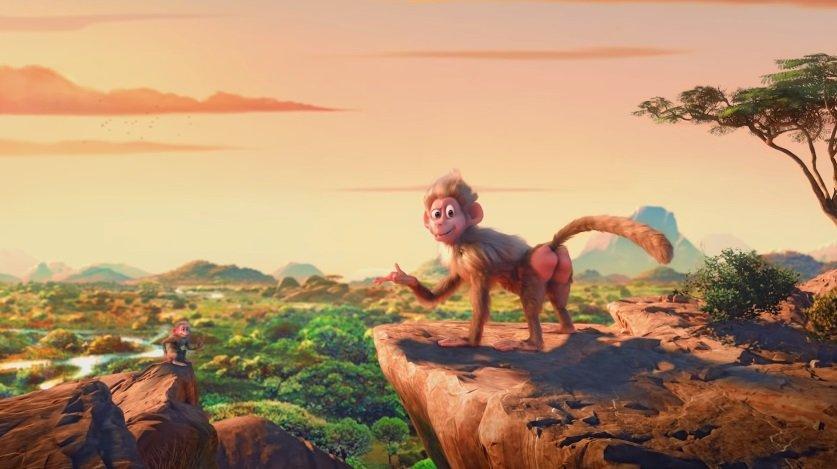 小贾斯汀(Justin Bieber)在MV中的化身是一只古灵精怪的狒狒。(图截自《Earth》MV)