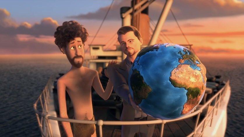 """电影巨星里奥纳度狄卡比奥(右)也""""现身""""。(图截自《Earth》MV)"""