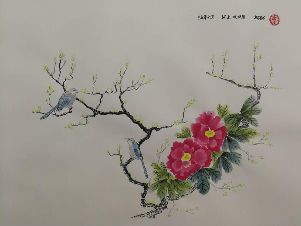 """萧美芳在文学沉浮数十载,但在丹青路上仍是""""菜鸟"""",原意是想为沉闷的退休生活增添乐趣,但下笔后像是发现新大陆。"""