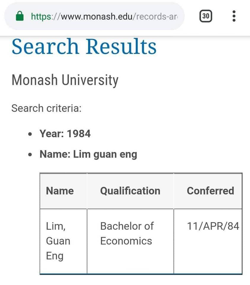 莫纳什大学网站的资料显示,林冠英是于1984年在该大学考获经济学士学位。