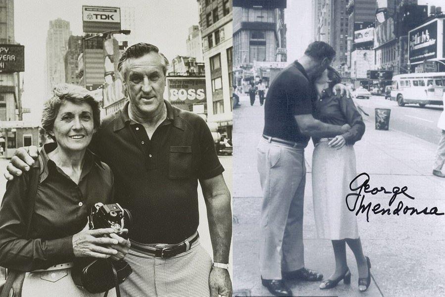 他们在1980年回到时代广场重现当年的画面,当时他们已各自有了家庭,双方未见35年。