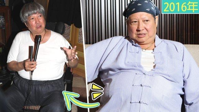 洪金宝(左图)昨现身开镜仪式,大肚腩比2年前(右图)消风了一些。(图取香港《苹果日报》)