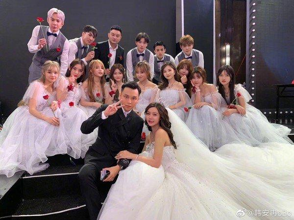 韩安冉婚礼。(图翻摄自微博)