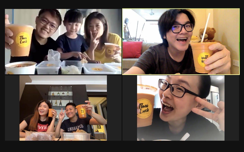 与朋友们点同一种餐点在视讯共餐,仿若在同一家餐厅吃饭一样热闹。