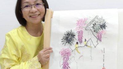 萧美芳上半生忙于教育、文学等工作,退休7年后的她,握笔的定义不再限于在草纸或黑板上写字,而是多了新人画家的身份。