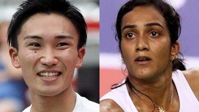 日本世界一哥桃田贤斗(左)在男单决赛强势卫冕;欣杜(右)在女单封后,成为印度首个世锦赛冠军。(图取自世界羽联官网)