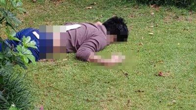 男子遗体被发现面部朝下倒卧在草地上。