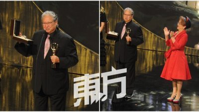 """洪金宝获得今年大会颁发的""""终身成就奖"""",还表示希望能在接下来能拍一些让观众笑到无法睡觉的电影,也希望能在十多年后再获得该奖项。(摄影:徐慧美)"""