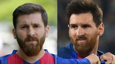 """左为""""山寨版伊朗梅西"""",右为梅西本尊。"""