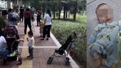 妇女昏倒的公园地点(左)及失踪的男婴照片。(图取自互联网)