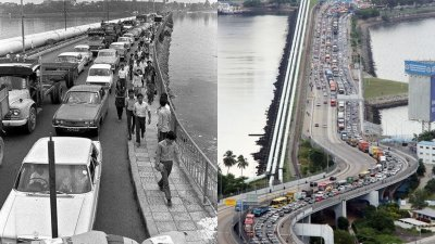 有网友将上世纪70年代的柔佛长堤交通阻塞照片上载至面子书,引起网民热议。右图为柔佛长堤每逢周末、连假或是普通天的繁忙时段,必定会出现长长的车龙。(摄影:刘维杰)