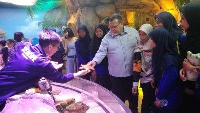 阿米诺胡达(右5)与学生们参观马来西亚乐高主题乐园的海洋探索中心,并伸手触摸海星模拟道具。